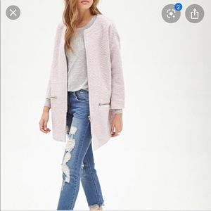 •FOREVER 21• Pink Wool Boucle Long Zipper Coat XS